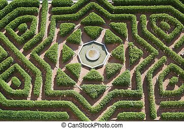 garden - overhead view of a formal garden in the Alcazar of ...