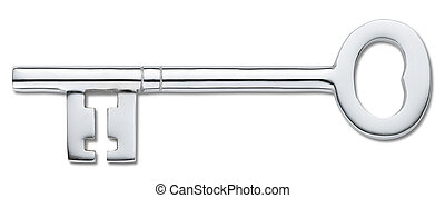 silver door key isolated on white (clipping path) - overhead...