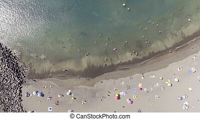 Overhead view of beautiful beach in summer