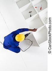 overhead view of carpenter