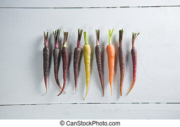 Overhead view of carrots on table