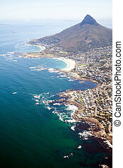 overhead view of coast of Cape Town