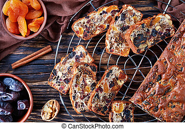 overhead view of dried fruits rich cake