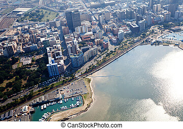 durban city cbd, south africa - overhead view of durban city...
