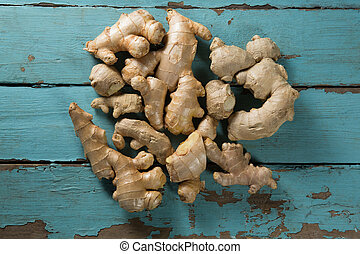 Overhead view of gingers on table