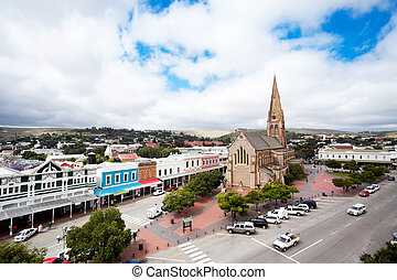Grahamstown, South Africa - overhead view of Grahamstown, ...