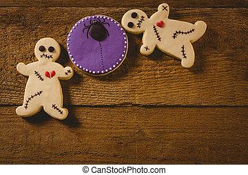 Overhead view of Halloween cookies on table