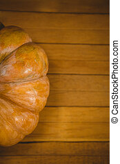 Overhead view of pumpkin on table