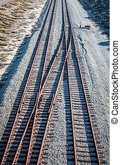 Overhead View of Railroad Tracks