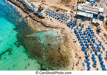 Overhead view of Sandy Bay (Vathia Gonia) beach in Ayia Napa...