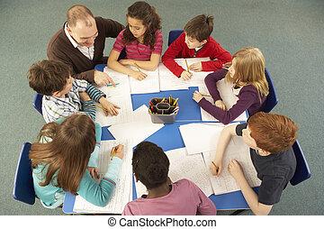 Overhead View Of Schoolchildren Working Together At Desk ...