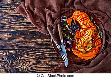 overhead view of sliced Butternut squash