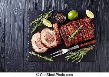 overhead view of sliced roast pork