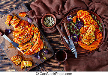 overhead view of sliced roasted pumpkin