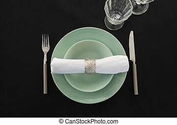 Overhead view of table setting