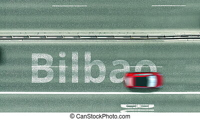 Overhead view of the busy car road with Bilbao text. Travel to Spain 3D rendering