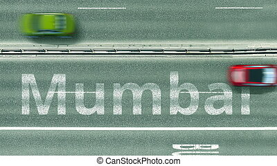 Overhead view of the car road with Mumbai text. Travel to India 3D rendering