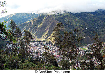 Overhead view of the city of Banos, Andes Range, Ecuator