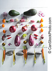 Overhead view of various vegetables arranged