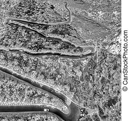 Overhead view of winding mountain road