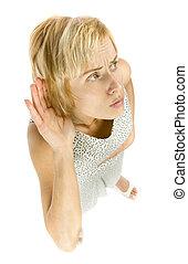 overhear woman - woman is overhearing