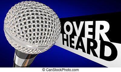 overheard, summen, nachrichten, gerücht, klatsch, mikrophon, 3d, abbildung