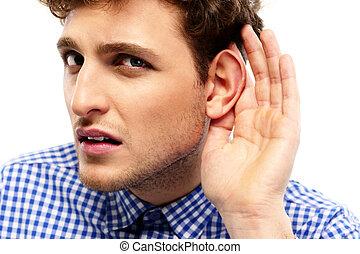 overhears, jonge, gesprek, verticaal, ongedwongen, man