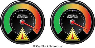 Overheat warning - Illustration of a tachometer. Prevent...