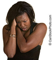 Frantic Black woman holding neck and head