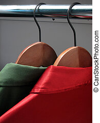overhemden, op, hangers:, kerstmis, kleuren