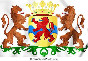 Overijssel Coat of Arms, Netherlands. 3D Illustration.