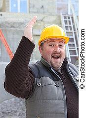 Overjoyed builder