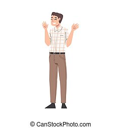 Overjoyed Male Character Waving Hands and Smiling with Joy and Excitement Full Length Vector Illustration. Happy Man Feeling Positive Emotion and Cheering About Something Concept