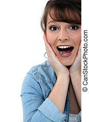Overjoyed woman