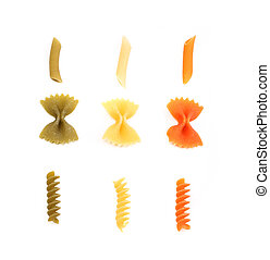 overkrydsning, af, forskellige, farve, pasta.