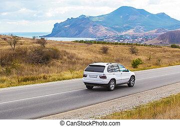 overkrydsning, ride, den, hovedkanalen, ind, en, bjergrige, område