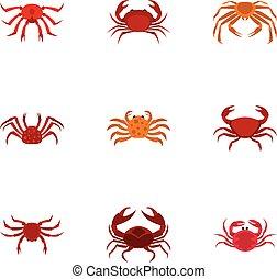 Overland crab icons set, cartoon style - Overland crab icons...