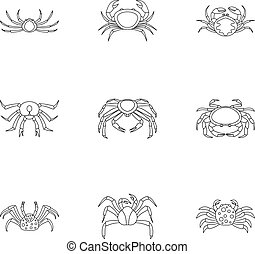 Overland crab icons set, outline style - Overland crab icons...
