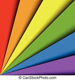 Overlapping colorful paper sheets in colors of rainbow spectrum arranged in a fan. With shadow effect. Happy abstract vector background wallpaper