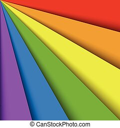 Overlapping colorful paper sheets in colors of rainbow...