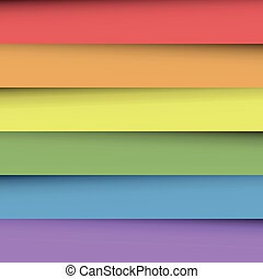 Overlapping colorful paper sheets in colors of rainbow spectrum. With shadow effect. Happy abstract vector background wallpaper