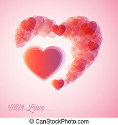 Vector red hearts - Valentines card