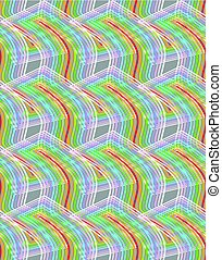 Overlapping wavy rainbow shapes on grey background, seamless vector retro patterns