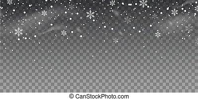 overlay., snowflakes., neige, effect., vecteur, fond, tomber