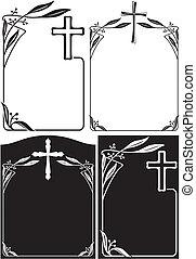 overlijdensbericht, of, plaque