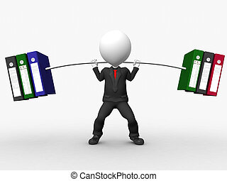 Overload 3D businessman lifting weights made of heavy files