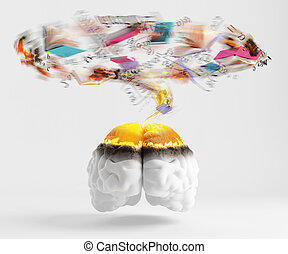 Over red brain spinning whirlwind consisting of books and formulas