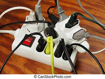 Overloaded extension cord - Extension cord with multiple...