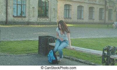 Overloaded female student having stress after exam -...