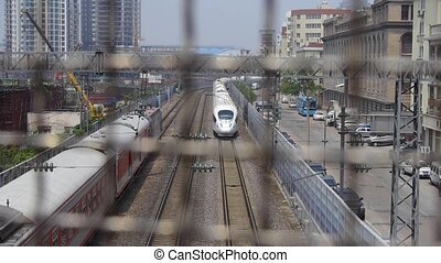 overlook high-speed rail passing th